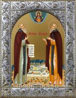Зосима и Савватий Соловецкие преподобные, икона  в посеребренной рамке, золочение,  140 х 180 мм (арт.55063-01)