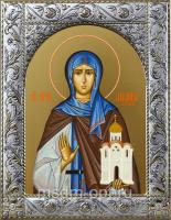 Ангелина Сербская блаженная, икона в посеребренной рамке, золочение,  140 х 180 мм (арт.55066-01)