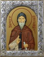 Александр Константинопольский преподобный, икона в посеребренной рамке, золочение,  140 х 180 мм (арт.55093-01)