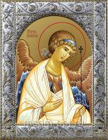 Ангел Хранитель, икона в посеребренной рамке, золочение,  140 х 180 мм (арт.55157-01)