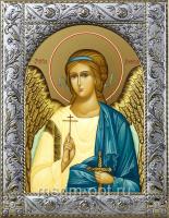 Ангел Хранитель, икона  в посеребренной рамке, золочение,  140 х 180 мм (арт.55184-01)