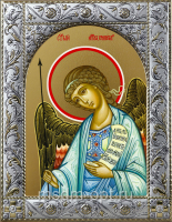 Ангел Хранитель, икона в посеребренной рамке, золочение,  140 х 180 мм (арт.55199-01)