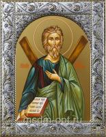 Андрей Первозванный апостол, икона в посеребренной рамке, золочение,  140 х 180 мм (арт.554404-01)