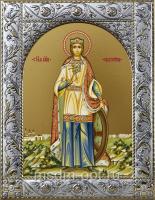 Екатерина великомученица, икона в посеребренной рамке, золочение,  140 х 180 мм (арт.554513-01)