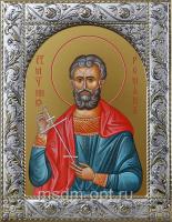 Святой Роман Кесарийский, икона в посеребренной рамке, золочение,  140 х 180 мм (арт.554520-01)