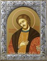 Александр Невский благоверный князь, икона в посеребренной рамке, золочение,  140 х 180 мм (арт.55453-01)