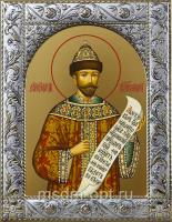 Николай (Романов) II, император, страстотерпец, икона в посеребренной рамке, золочение,  140 х 180 мм (арт.55553-01)