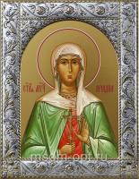 Ариадна Промисская мученица, икона в посеребренной рамке, золочение,  140 х 180 мм (арт.55555-01)