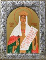 Александра (Романова), императрица, страстотерпица, икона в посеребренной рамке, золочение,  140 х 180 мм (арт.556545-01)