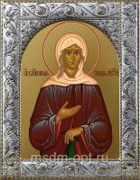 Ксения Петербургская блаженная, икона в посеребренной рамке, золочение,  140 х 180 мм (арт.556814-01)