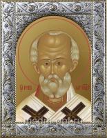 Николай чудотворец, архиепископ Мир Ликийских, святитель, икона в посеребренной рамке, золочение,  140 х 180 мм (арт.55702-01)