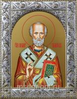 Николай чудотворец, архиепископ Мир Ликийских, святитель, икона в посеребренной рамке, золочение,  140 х 180 мм (арт.55716-01)