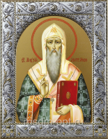Алексий, митрополит Московский, святитель, чудотворец, икона в посеребренной рамке, золочение,  140 х 180 мм (арт.55722-01)