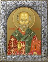 Николай чудотворец, архиепископ Мир Ликийских, святитель, икона в посеребренной рамке, золочение,  140 х 180 мм (арт.55728-01)