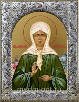 Матрона Московская, икона в посеребренной рамке, золочение,  140 х 180 мм (арт.55806-01)