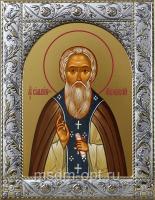 Сильвестр Обнорский, икона в посеребренной рамке, золочение,  140 х 180 мм (арт.55826-01)