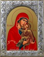 Анна мать Пресвятой Богородицы, икона в посеребренной рамке, золочение,  140 х 180 мм (арт.55833-01)