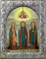 Зосима, Савватий и Герман Соловецкие преподобные, икона в посеребренной рамке, золочение,  140 х 180 мм (арт.55846-01)