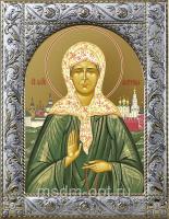 Матрона Московская блаженная, икона в посеребренной рамке, золочение,  140 х 180 мм (арт.55873-01)