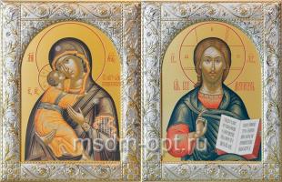Венчальная пара икон Господь Вседержитель (арт.06105-55) и Божия Матерь Владимирская (арт.0378-55) в посеребренной рамке, золочение, 140 х 180 мм