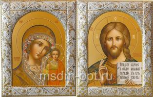 Венчальная пара икон Господь Вседержитель (арт.00110-55) и Божия Матерь Казанская (арт.00210-55) в посеребренной рамке, золочение, 140 х 180 мм