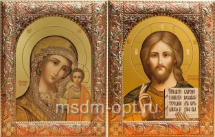 Венчальная пара икон Господь Вседержитель (арт.00110-55) и Божия Матерь Казанская (арт.00210-55) в посеребренной рамке, золочение, красная эмаль, 140 х 180 мм