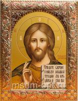 Господь Вседержитель, икона  в посеребренной рамке, золочение, красная эмаль, 140 х 180 мм (арт.00110-55)