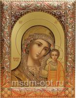 Казанская икона Божией Матери, икона  в посеребренной рамке, золочение, красная эмаль, 140 х 180 мм (арт.00210-55)