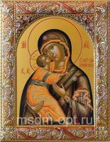 Владимирская икона Божией Матери, икона  в посеребренной рамке, золочение, красная эмаль, 140 х 180 мм (арт.00378-55)