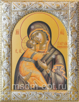 Владимирская икона Божией Матери, икона  в посеребренной рамке, золочение, 140 х 180 мм (арт.00378-55)