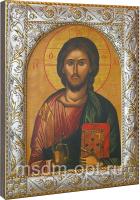 Господь Вседержитель, икона  в посеребренной рамке, золочение, 140 х 180 мм (арт.01047-55)