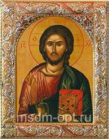 Господь Вседержитель, икона  в посеребренной рамке, золочение, красная эмаль, 140 х 180 мм (арт.01047-55)