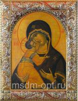Владимирская икона Божией Матери, икона  в посеребренной рамке, золочение, красная эмаль, 140 х 180 мм (арт.02094-55)