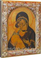 Венчальная пара икон Господь Вседержитель (арт.01047-255) и Божия Матерь Владимирская (арт.02094-255) в посеребренной рамке, золочение, красная эмаль, 140 х 180 мм