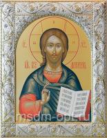 Господь Вседержитель, икона  в посеребренной рамке, золочение, 140 х 180 мм (арт.06105-55)