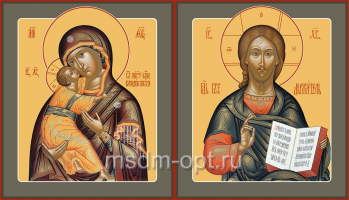 Венчальная пара икон Господь Вседержитель (арт.06105) и Божия Матерь Владимирская (арт.0378)
