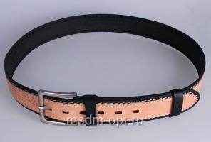00415 Пояс ремень мужской кожаный, однослойный, прошитый. Фигурная пряжка. Ширина 40 мм (арт.МТ5)