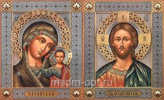 Венчальная пара икон Господь Вседержитель (арт.06138) и Божия Матерь Казанская (арт.06277)