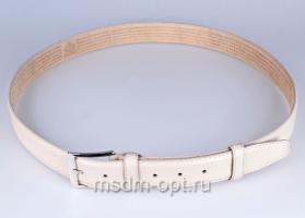 00116 Пояс ремень  кожаный, трехслойный, прошитый. Ширина 35 мм (арт.МП1)  белый