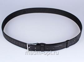 01211 Пояс ремень мужской кожаный, однослойный, тиснение рисунка. Ширина 35 мм (арт.МП12) черный
