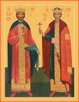 Константин царь и Владимир великий князь, равноапостольные, икона (арт.06445)