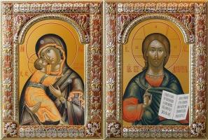 Венчальная пара икон Господь Вседержитель (арт.06105-85) и Божия Матерь Владимирская (арт.0378-85)  в посеребренной рамке, золочение, красная эмаль, 180 х 240 мм