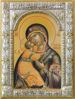 Владимирская икона Божией Матери, икона в посеребренной рамке, золочение, 180 х 240 мм (арт.00378-85)