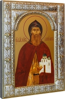 Даниил Московский благоверный князь, икона в посеребренной рамке, золочение, 180 х 240 мм (арт.00412-85)
