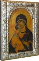 Владимирская икона Божией Матери, икона в посеребренной рамке, золочение, 180 х 240 мм (арт.02094-285)