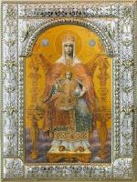 Державная икона Божией Матери, икона в посеребренной рамке, золочение, 180 х 240 мм (арт.04229-285)