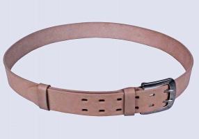 00516 Пояс ремень мужской кожаный, однослойный, прошитый. Фигурная пряжка. Ширина 40 мм (арт.МТ5) бежевый
