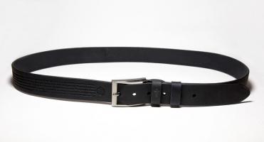 00611 Пояс ремень мужской кожаный, однослойный, гладкий, прошитый. Ширина 35 мм (арт.МП6) черный