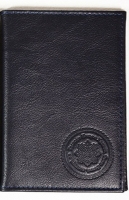Обложка для авто документов, тиснение молитва Иисусова, крыло кожа с визитницей (арт.МВ52И) синяя