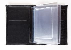 Обложка для авто документов, тиснение молитва Иисусова, крыло кожа с визитницей (арт.МВ52И) черная
